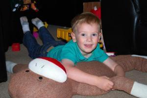 "Rylan and his ""monkey sock"""