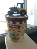 Tractor on my ice cream at the airport.