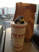 Five Guys, tractor and fries.
