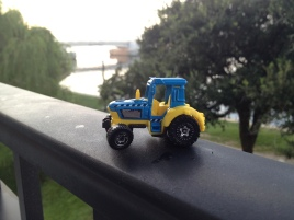 Tractor enjoying the river front view.