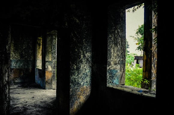 An inside view of a burned down hospital. I had a blast shooting this dilapidated building.